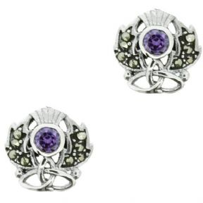 Scottish Thistle Silver Stud Earrings with Marcasite & Amethyst colour stone 9894